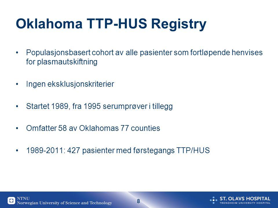 8 Oklahoma TTP-HUS Registry •Populasjonsbasert cohort av alle pasienter som fortløpende henvises for plasmautskiftning •Ingen eksklusjonskriterier •St