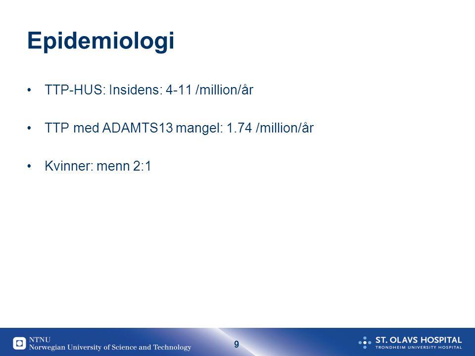 9 Epidemiologi •TTP-HUS: Insidens: 4-11 /million/år •TTP med ADAMTS13 mangel: 1.74 /million/år •Kvinner: menn 2:1