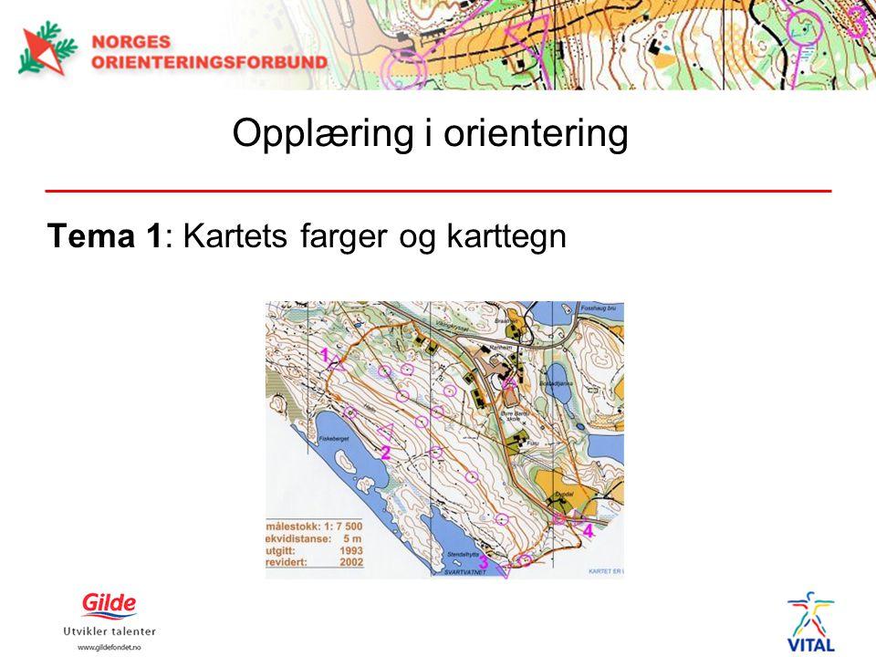 Tema 1: Kartets farger og karttegn Opplæring i orientering