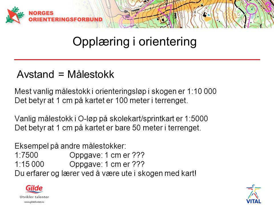 Avstand = Målestokk Mest vanlig målestokk i orienteringsløp i skogen er 1:10 000 Det betyr at 1 cm på kartet er 100 meter i terrenget. Vanlig målestok