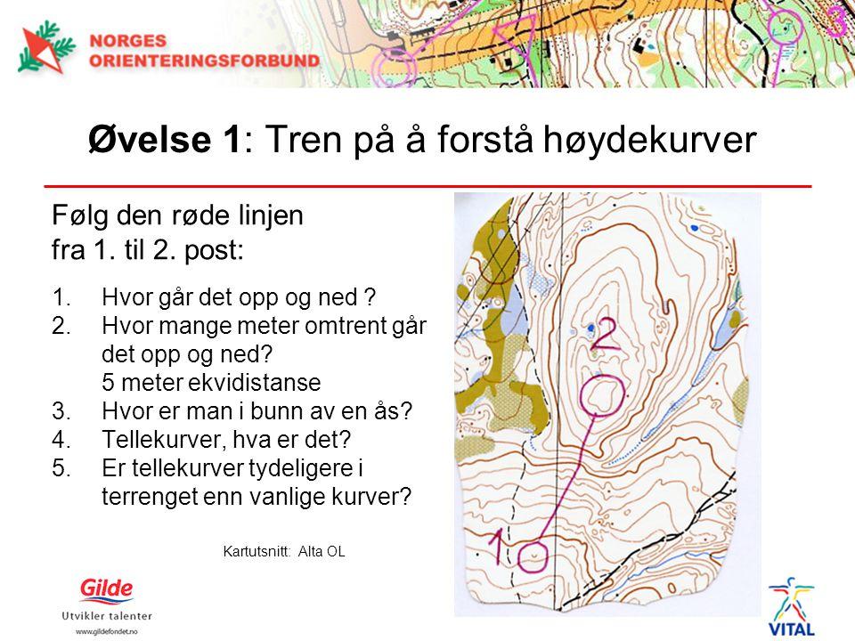 Øvelse 1: Tren på å forstå høydekurver Følg den røde linjen fra 1. til 2. post: 1.Hvor går det opp og ned ? 2.Hvor mange meter omtrent går det opp og