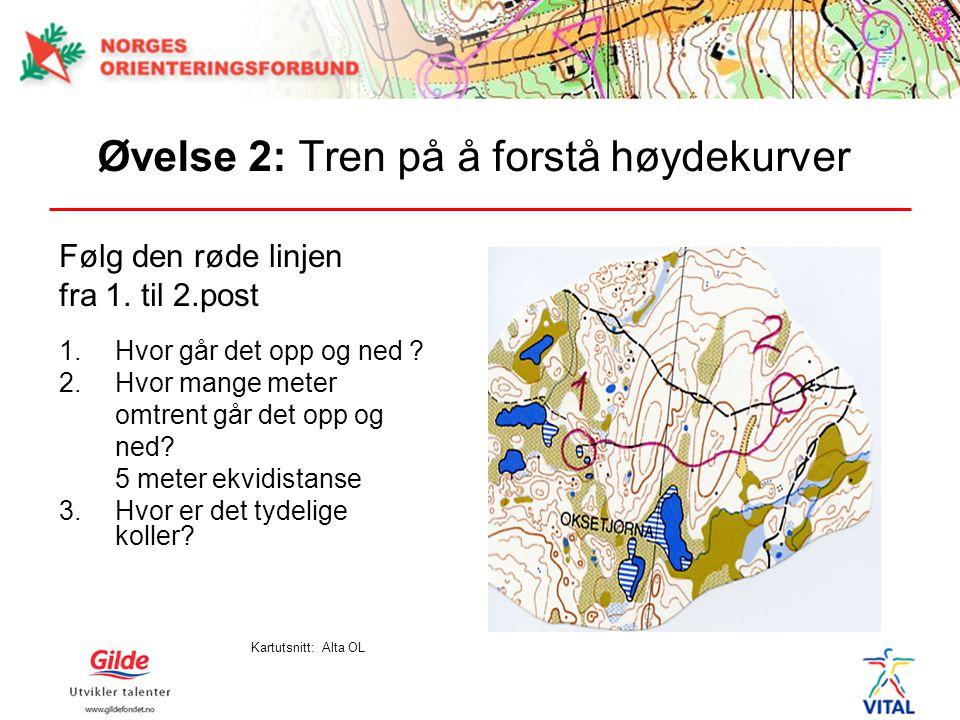 Øvelse 2: Tren på å forstå høydekurver Følg den røde linjen fra 1. til 2.post 1.Hvor går det opp og ned ? 2.Hvor mange meter omtrent går det opp og ne