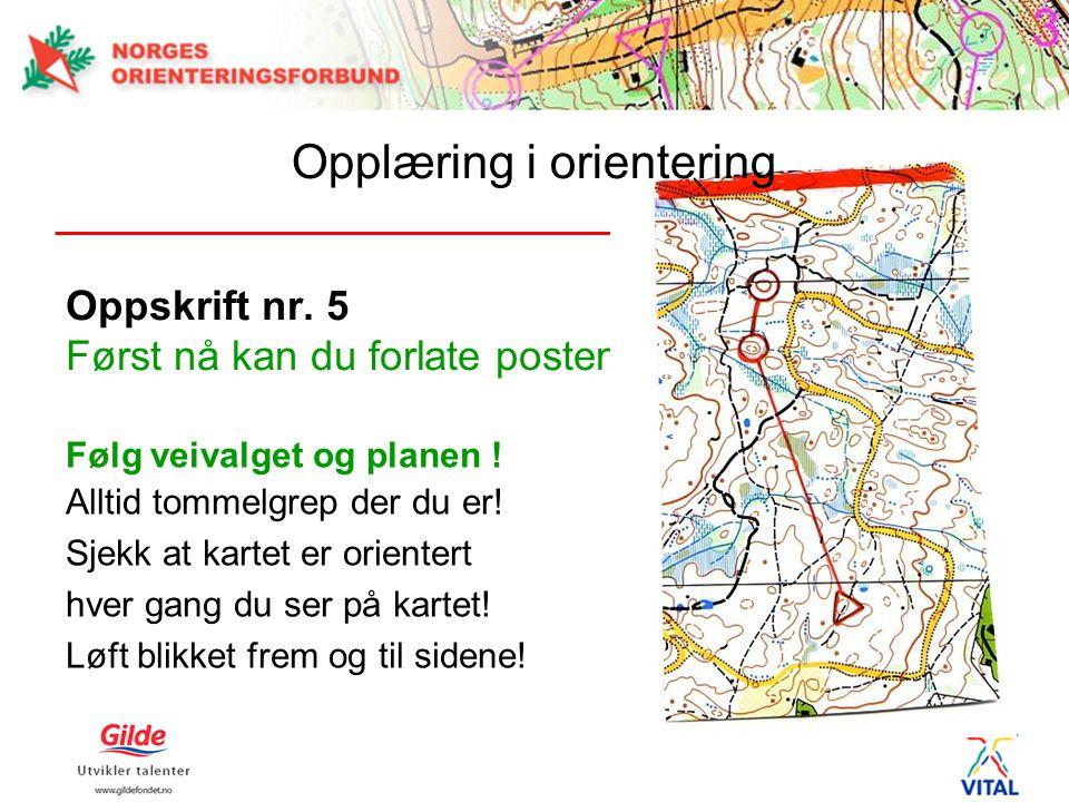 Oppskrift nr. 5 Først nå kan du forlate posten! Følg veivalget og planen ! Alltid tommelgrep der du er! Sjekk at kartet er orientert hver gang du ser