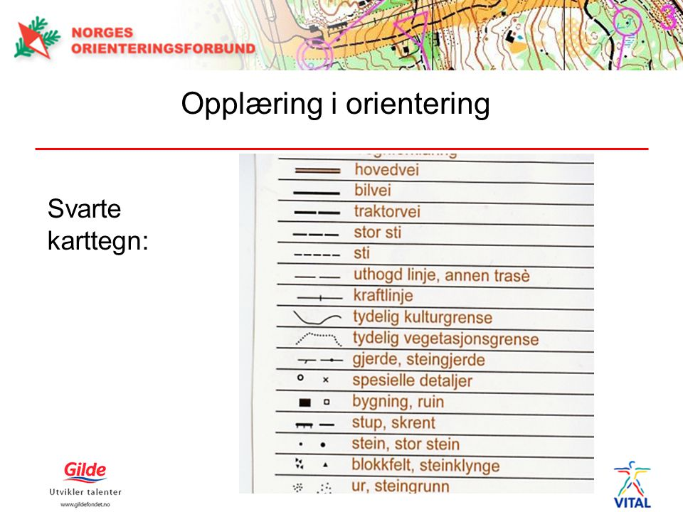 Svarte karttegn: Opplæring i orientering