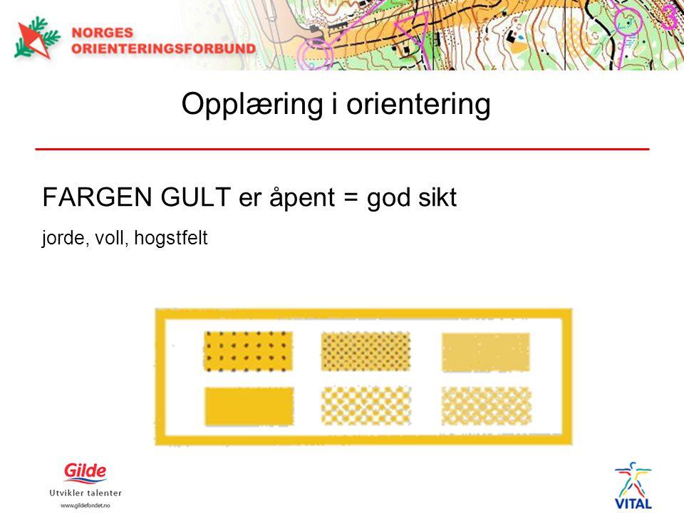 FARGEN GULT er åpent = god sikt jorde, voll, hogstfelt Opplæring i orientering