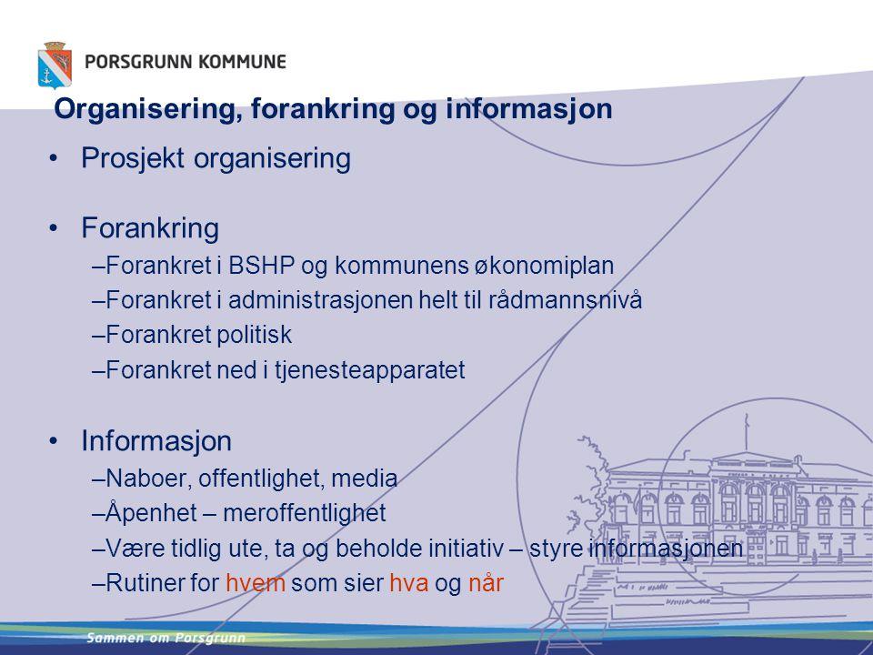 •Prosjekt organisering •Forankring –Forankret i BSHP og kommunens økonomiplan –Forankret i administrasjonen helt til rådmannsnivå –Forankret politisk