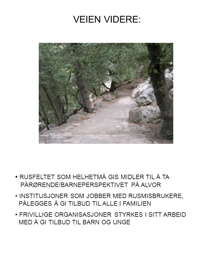 VEIEN VIDERE: • RUSFELTET SOM HELHETMÅ GIS MIDLER TIL Å TA PÅRØRENDE/BARNEPERSPEKTIVET PÅ ALVOR • INSTITUSJONER SOM JOBBER MED RUSMISBRUKERE, PÅLEGGES Å GI TILBUD TIL ALLE I FAMILIEN • FRIVILLIGE ORGANISASJONER STYRKES I SITT ARBEID MED Å GI TILBUD TIL BARN OG UNGE