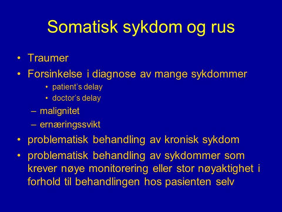 Somatisk sykdom og rus •Traumer •Forsinkelse i diagnose av mange sykdommer •patient's delay •doctor's delay –malignitet –ernæringssvikt •problematisk