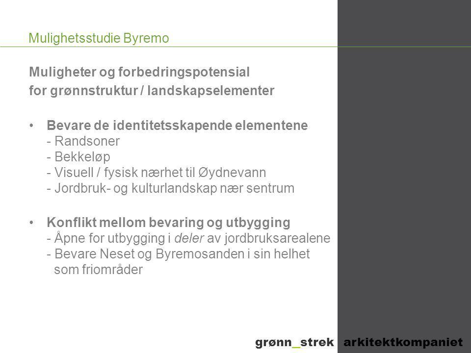 Mulighetsstudie Byremo Muligheter og forbedringspotensial for grønnstruktur / landskapselementer •Bevare de identitetsskapende elementene - Randsoner