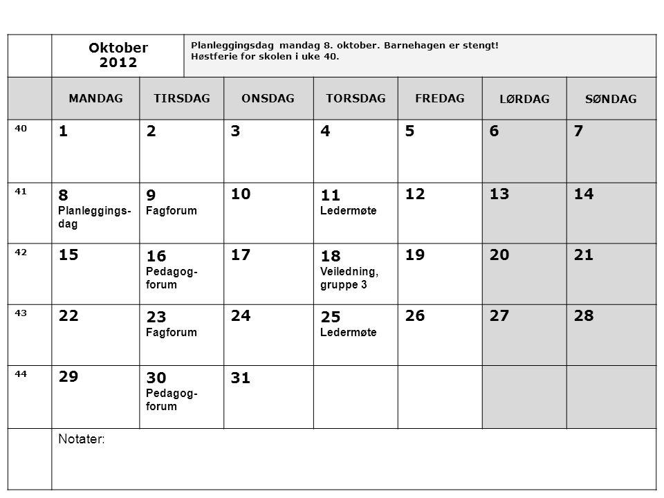 Oktober 2012 Planleggingsdag mandag 8.oktober. Barnehagen er stengt.