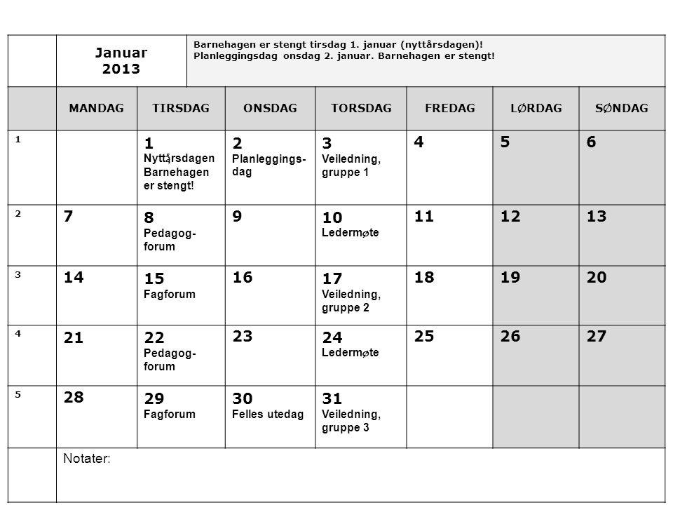 Januar 2013 Barnehagen er stengt tirsdag 1.januar (nyttårsdagen).