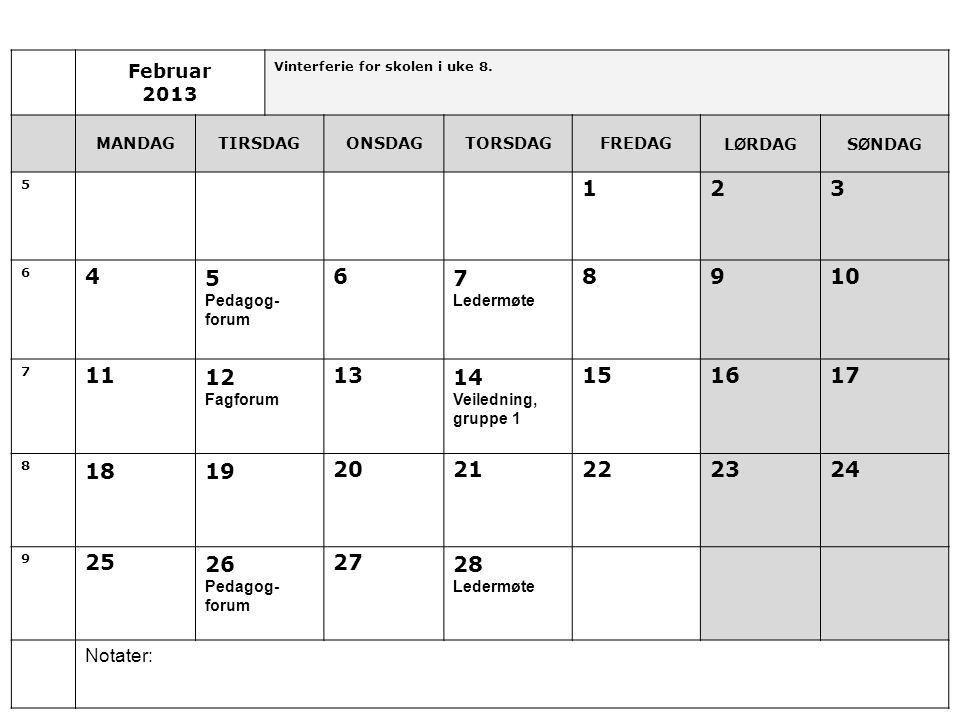 Februar 2013 Vinterferie for skolen i uke 8.