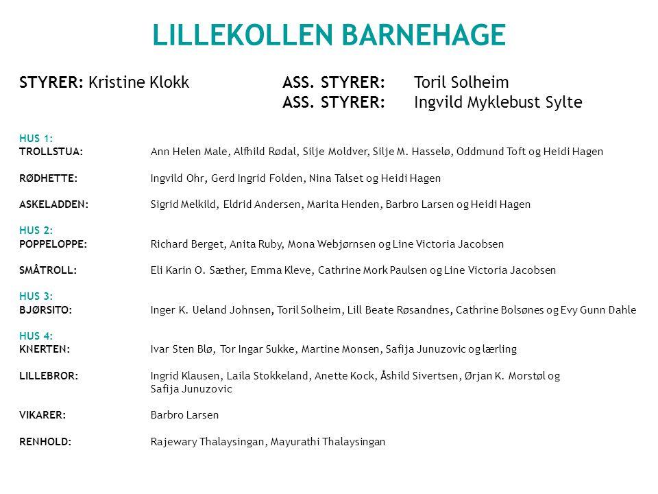 LILLEKOLLEN BARNEHAGE STYRER: Kristine KlokkASS.STYRER: Toril Solheim ASS.