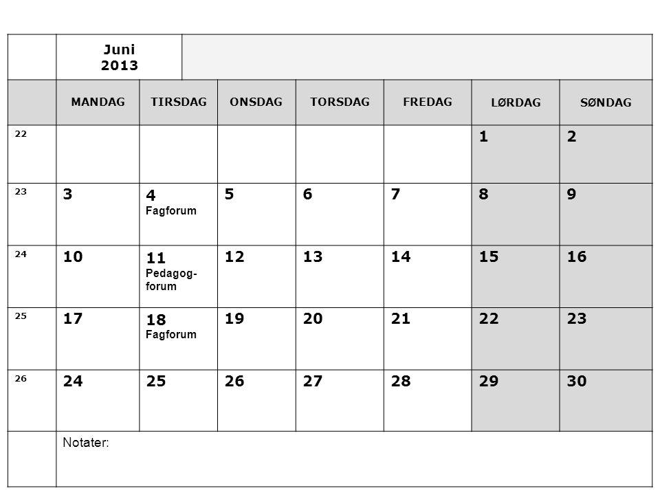 Juni 2013 MANDAGTIRSDAGONSDAGTORSDAGFREDAGL Ø RDAGS Ø NDAG 22 12 23 34 Fagforum 56789 24 1011 Pedagog- forum 1213141516 25 1718 Fagforum 1920212223 26 24252627282930 Notater: