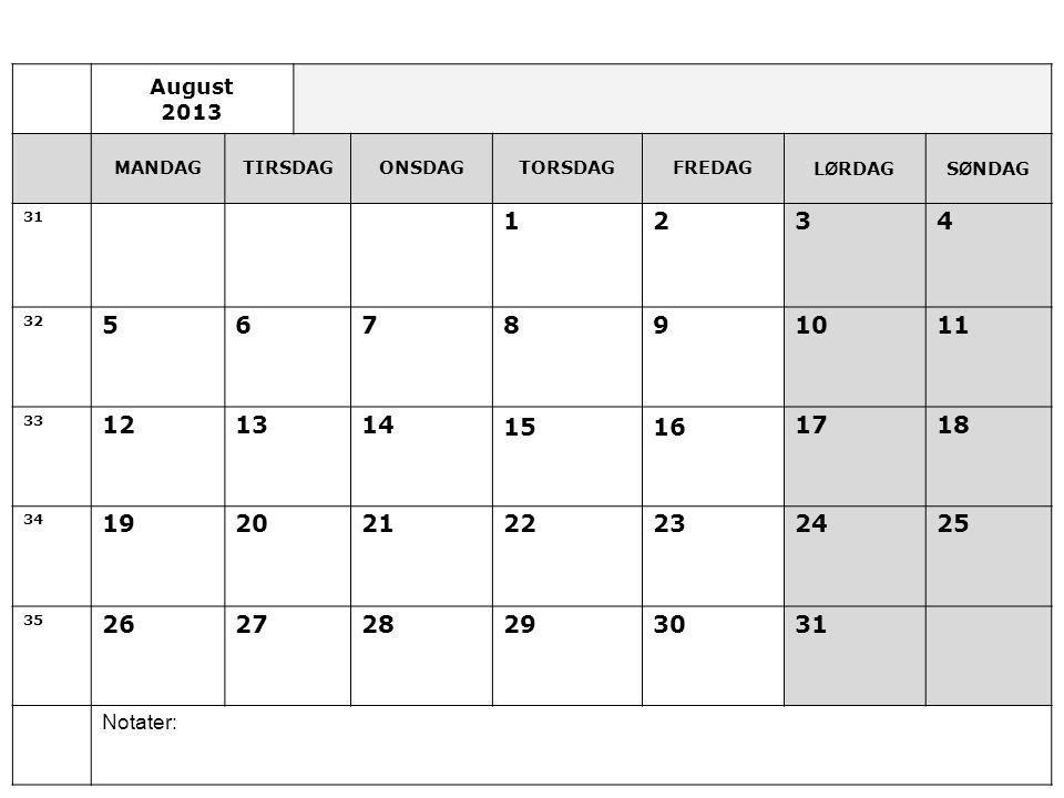 August 2013 MANDAGTIRSDAGONSDAGTORSDAGFREDAGL Ø RDAGS Ø NDAG 31 1234 32 567891011 33 12131415161718 34 19202122232425 35 262728293031 Notater: