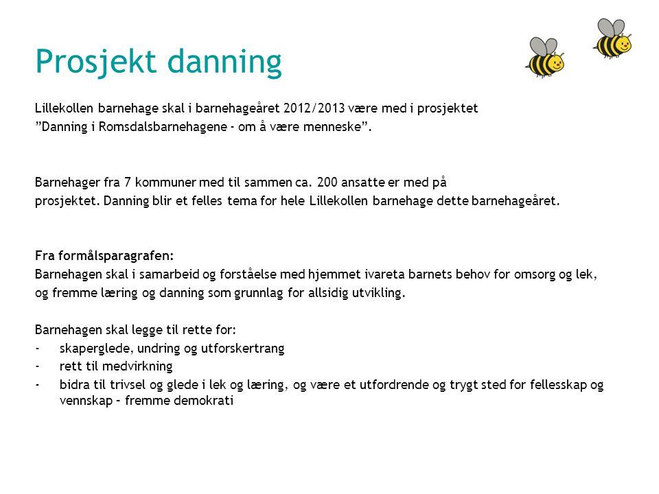 Prosjekt danning Lillekollen barnehage skal i barnehageåret 2012/2013 være med i prosjektet Danning i Romsdalsbarnehagene - om å være menneske .