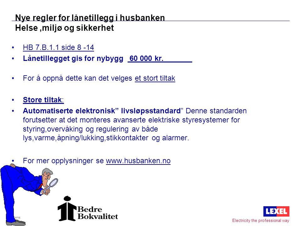 (Name) (Date) 17 Electricity the professional way Hva koster IHC til en enebolig ? •Det samme som et Boblebad. •20 - 60 000 Kr •Innsparingstid bolig 5
