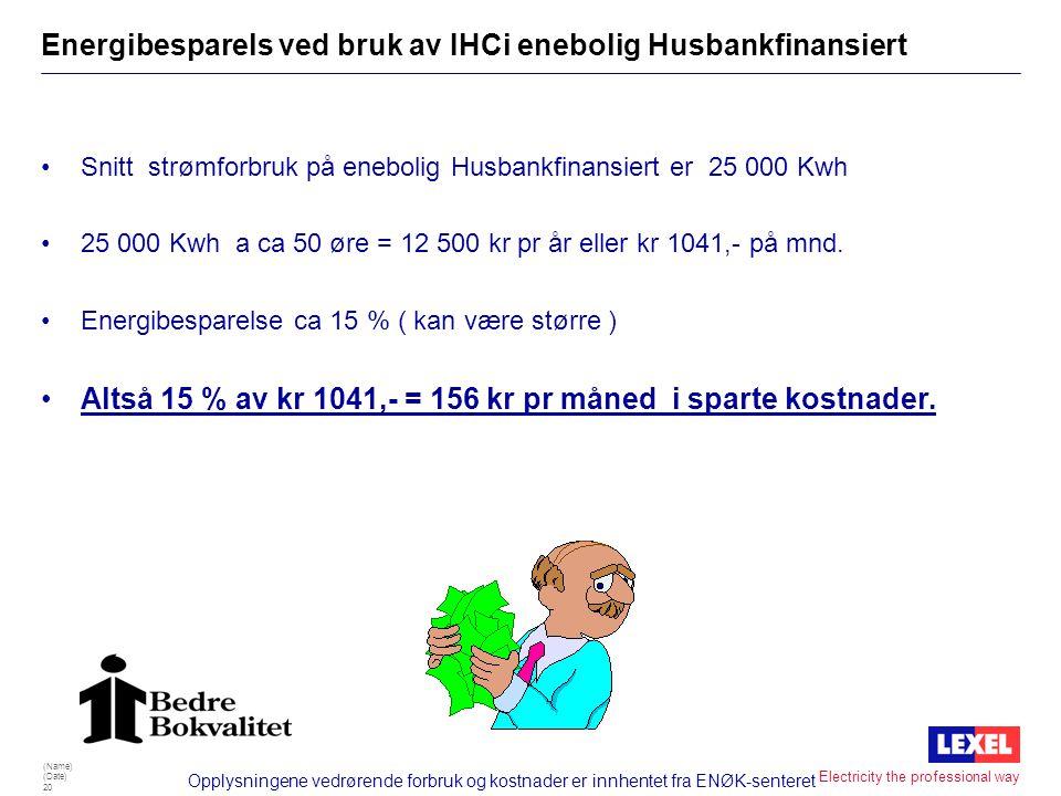 (Name) (Date) 19 Electricity the professional way Kostnader ved ekstra lånetillegg i Husbanken •Første 5 år: •Lån 700 000 kr pr mnd kr 3687,- Tillegg