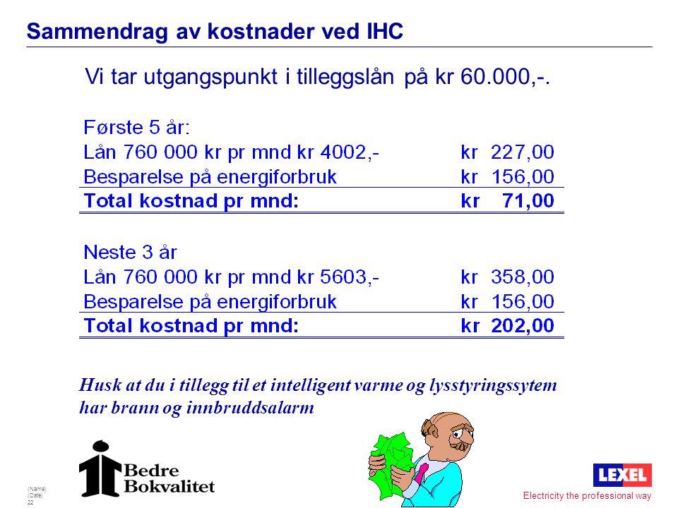 (Name) (Date) 21 Electricity the professional way Sammendrag av kostnader ved IHC Vi tar utgangspunkt i tilleggslån på kr 30.000,-. Husk at du i tille