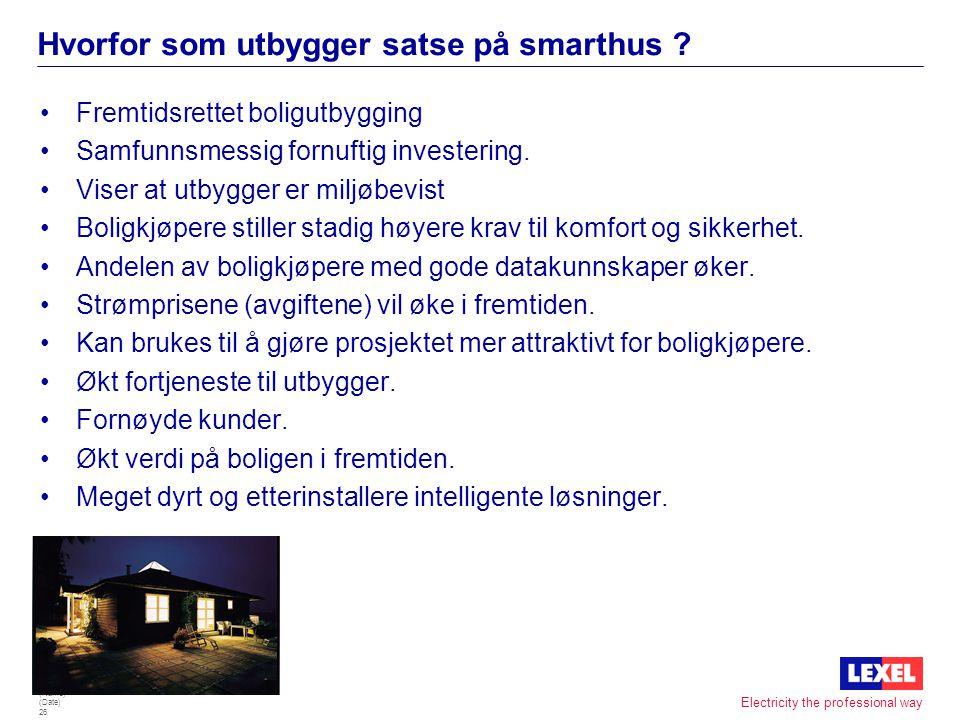 (Name) (Date) 25 Electricity the professional way Levert IHC-prosjekter i Norge •Ca 850 anlegg •Aker Maritim As, Kristiansand - Kontorbygg - Lys og va
