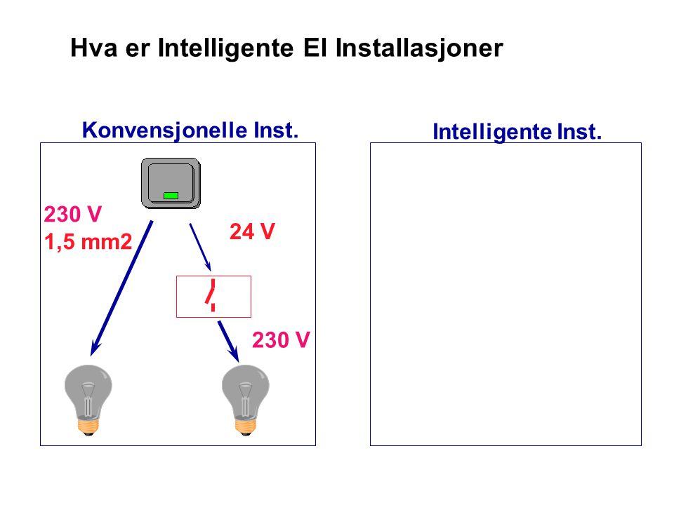 Hva er Intelligente El Installasjoner 230 V 1,5 mm2 Konvensjonelle Inst. Intelligente Inst.