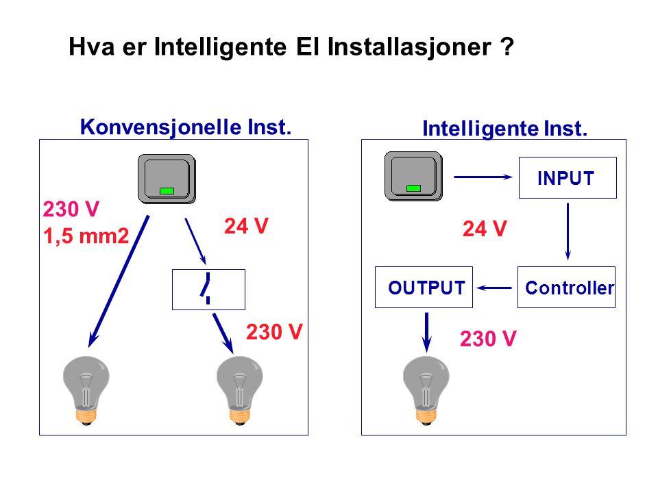 Hva er Intelligente El Installasjoner 230 V 1,5 mm2 Konvensjonelle Inst. 24 V 230 V Intelligente Inst.