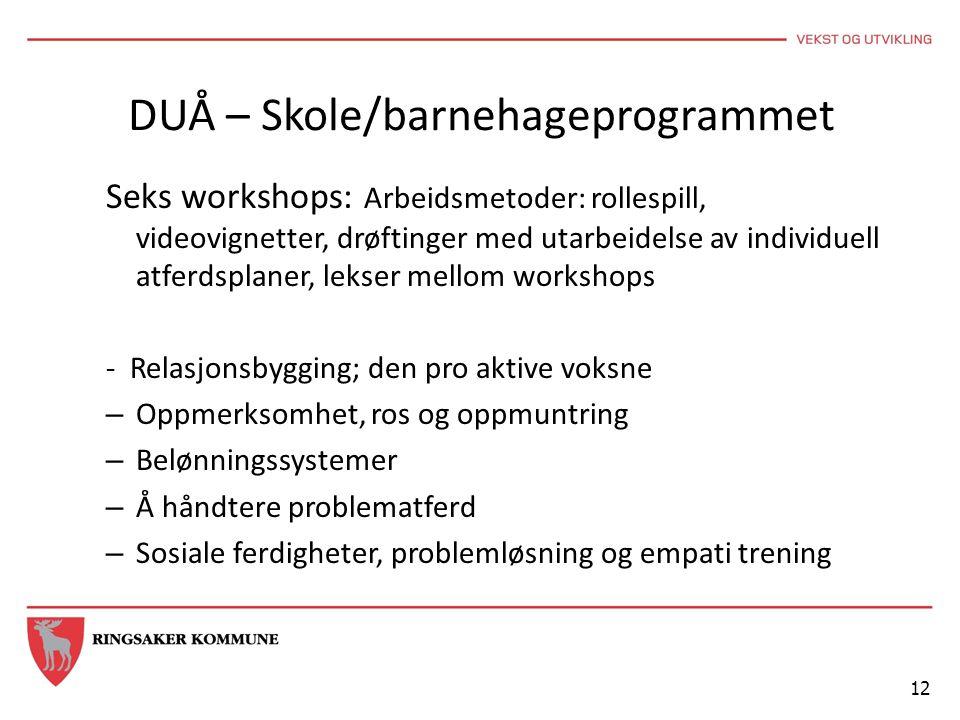 DUÅ – Skole/barnehageprogrammet Seks workshops: Arbeidsmetoder: rollespill, videovignetter, drøftinger med utarbeidelse av individuell atferdsplaner,