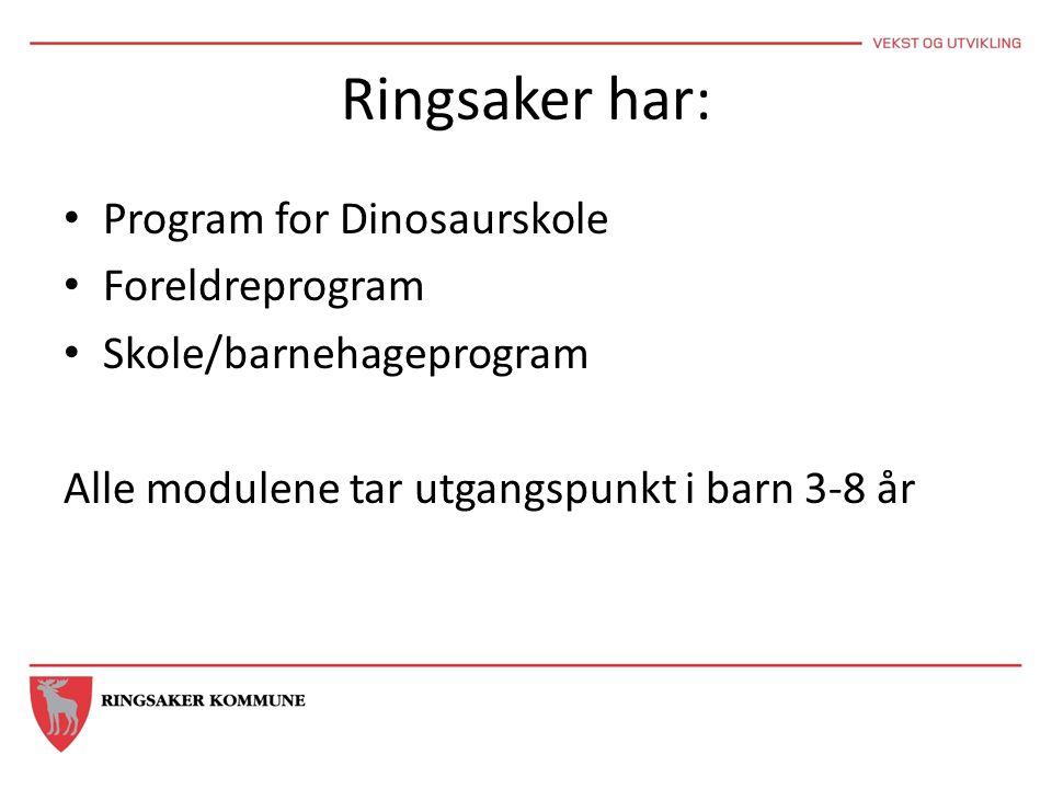 Ringsaker har: • Program for Dinosaurskole • Foreldreprogram • Skole/barnehageprogram Alle modulene tar utgangspunkt i barn 3-8 år