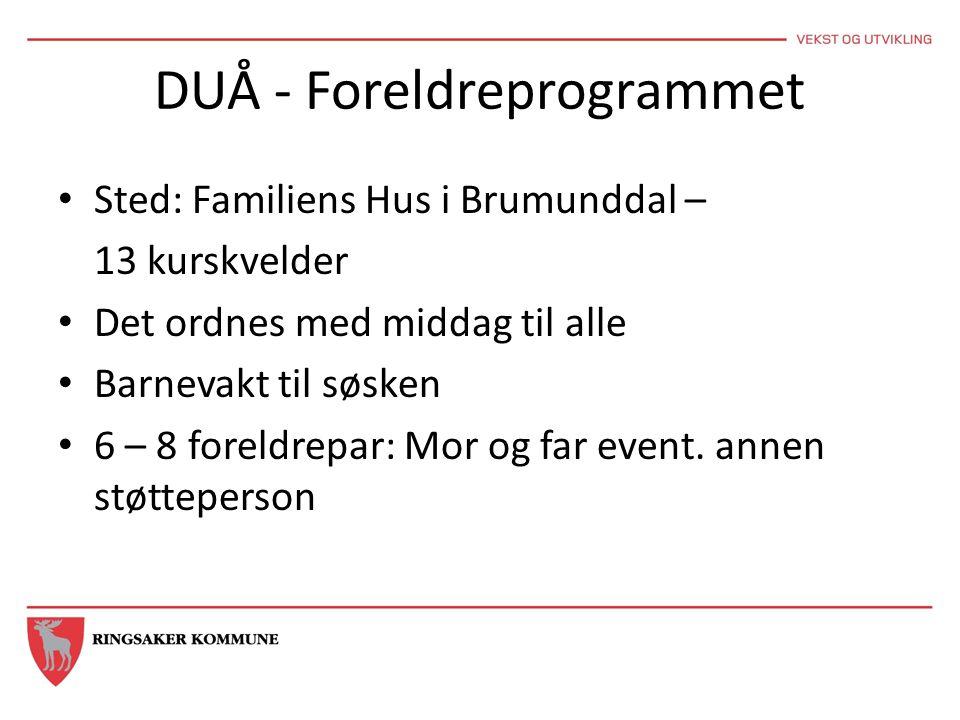 DUÅ - Foreldreprogrammet • Sted: Familiens Hus i Brumunddal – 13 kurskvelder • Det ordnes med middag til alle • Barnevakt til søsken • 6 – 8 foreldrep