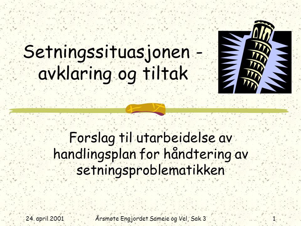 24. april 2001Årsmøte Engjordet Sameie og Vel, Sak 31 Setningssituasjonen - avklaring og tiltak Forslag til utarbeidelse av handlingsplan for håndteri