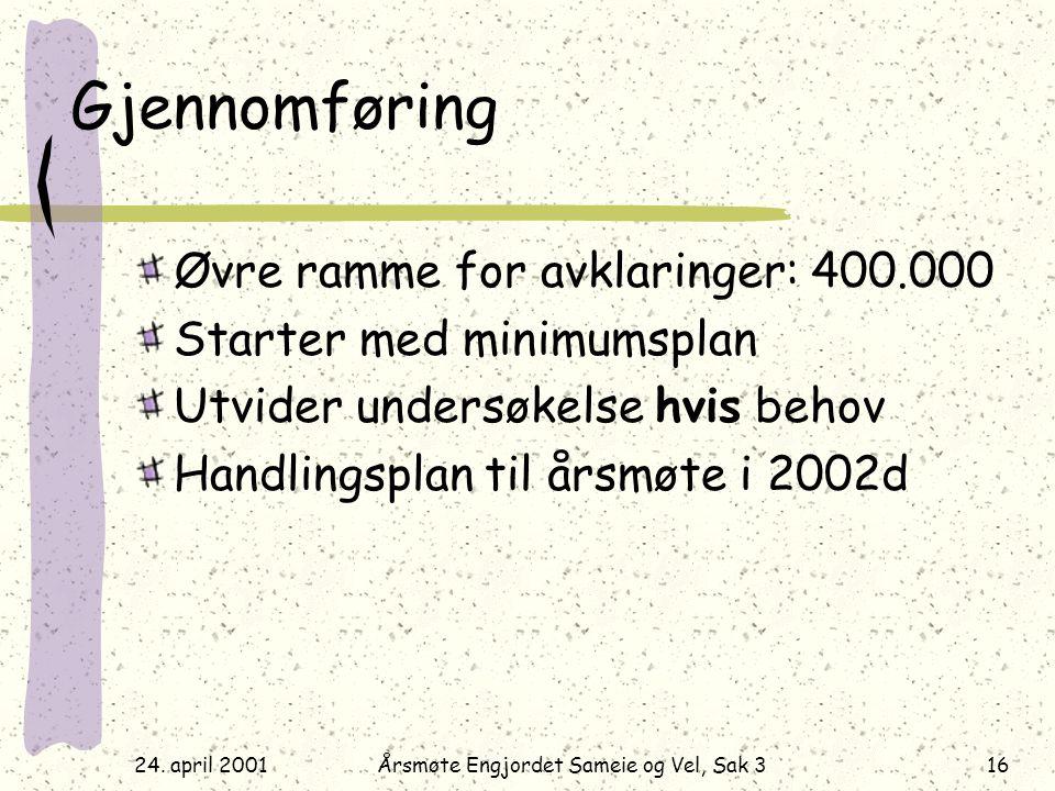 24. april 2001Årsmøte Engjordet Sameie og Vel, Sak 316 Gjennomføring Øvre ramme for avklaringer: 400.000 Starter med minimumsplan Utvider undersøkelse