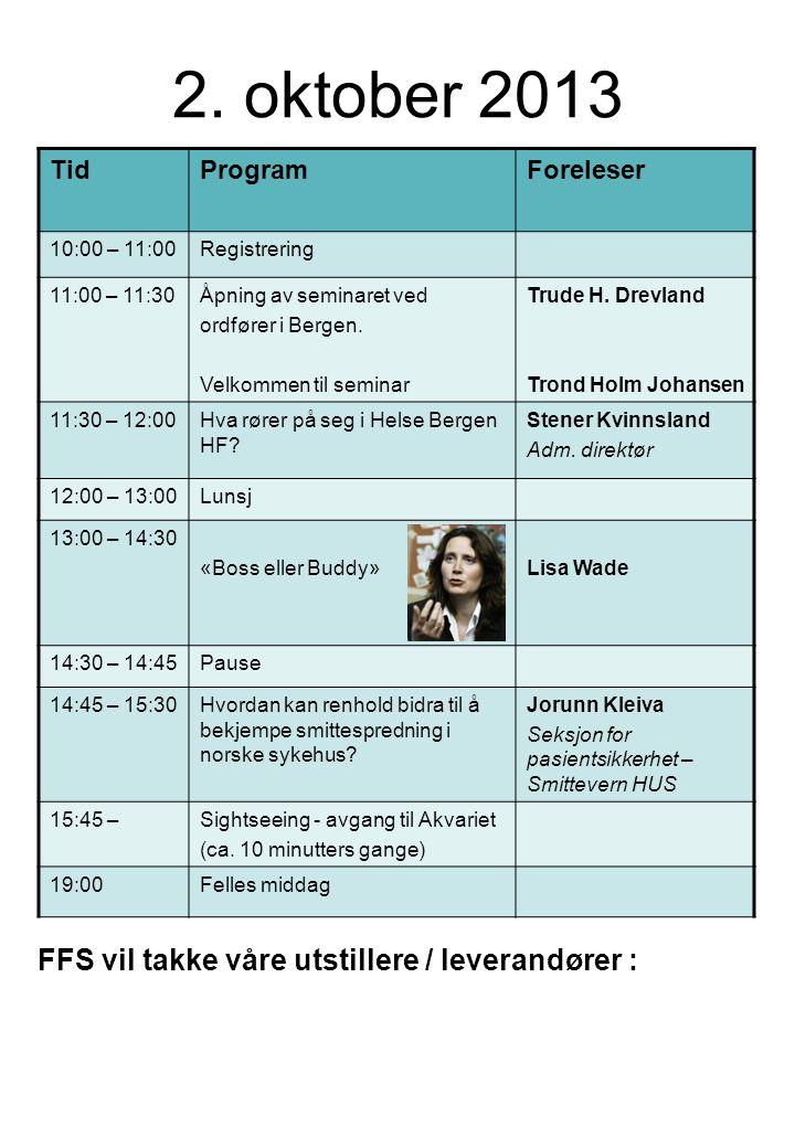 2. oktober 2013 TidProgramForeleser 10:00 – 11:00Registrering 11:00 – 11:30Åpning av seminaret ved ordfører i Bergen. Velkommen til seminar Trude H. D
