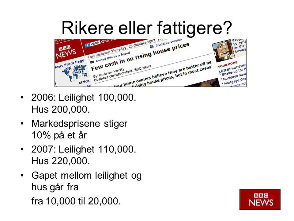 Rikere eller fattigere. •2006: Leilighet 100,000.