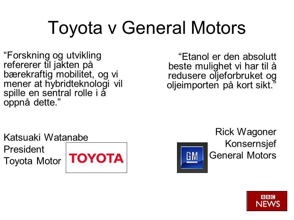 Toyota v General Motors Forskning og utvikling refererer til jakten på bærekraftig mobilitet, og vi mener at hybridteknologi vil spille en sentral rolle i å oppnå dette. Katsuaki Watanabe President Toyota Motor Etanol er den absolutt beste mulighet vi har til å redusere oljeforbruket og oljeimporten på kort sikt. Rick Wagoner Konsernsjef General Motors
