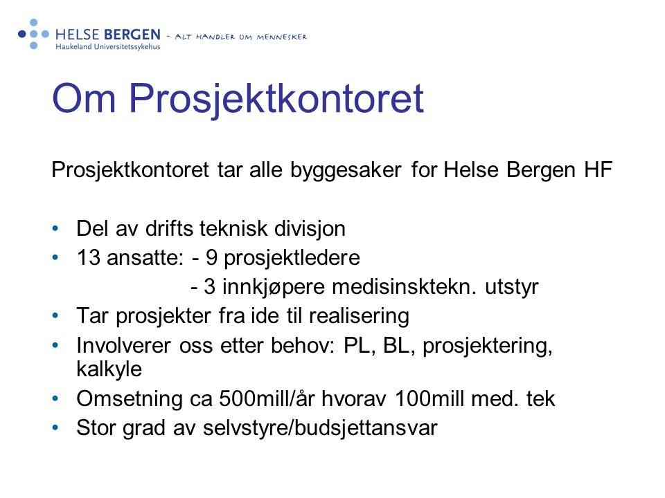 Om Prosjektkontoret Prosjektkontoret tar alle byggesaker for Helse Bergen HF •Del av drifts teknisk divisjon •13 ansatte: - 9 prosjektledere - 3 innkjøpere medisinsktekn.
