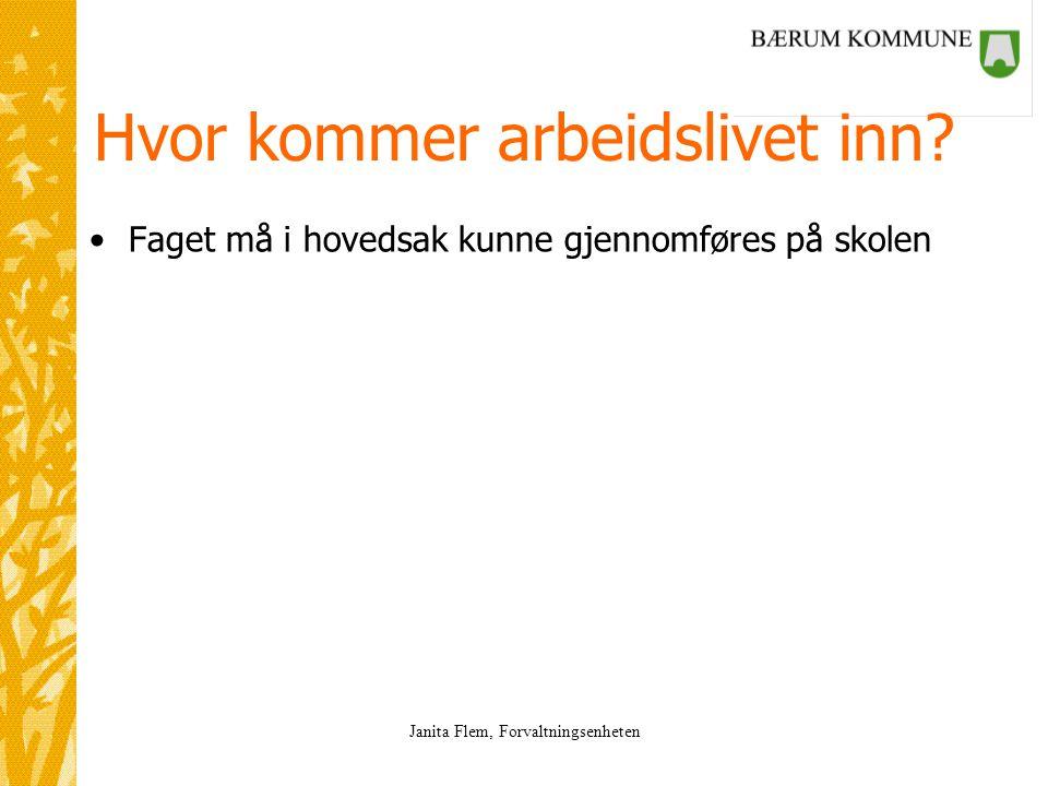 Janita Flem, Forvaltningsenheten Hvor kommer arbeidslivet inn.