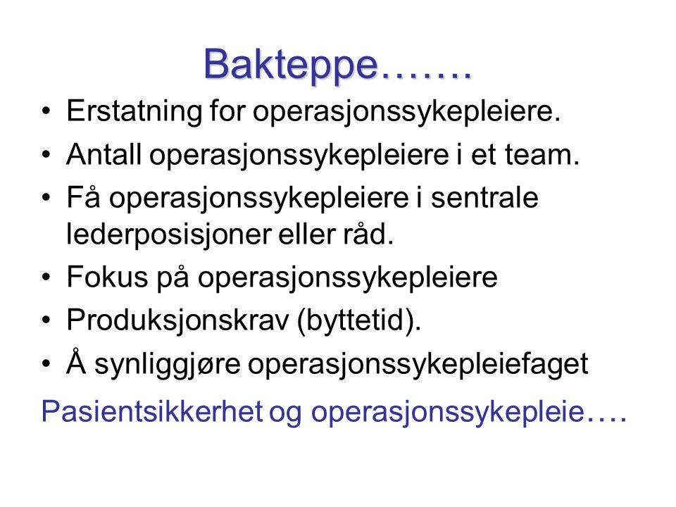 Bakteppe……. •Erstatning for operasjonssykepleiere. •Antall operasjonssykepleiere i et team. •Få operasjonssykepleiere i sentrale lederposisjoner eller