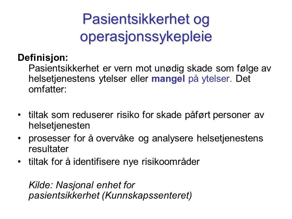 Pasientsikkerhet og operasjonssykepleie Definisjon: Pasientsikkerhet er vern mot unødig skade som følge av helsetjenestens ytelser eller mangel på yte