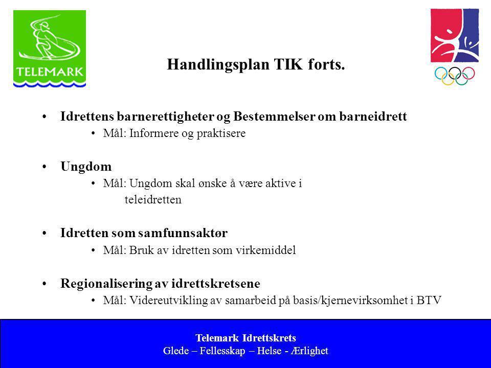 Norges idrettsforbund og olympiske og paralympiske komité 12 Handlingsplan TIK forts. •Idrettens barnerettigheter og Bestemmelser om barneidrett •Mål: