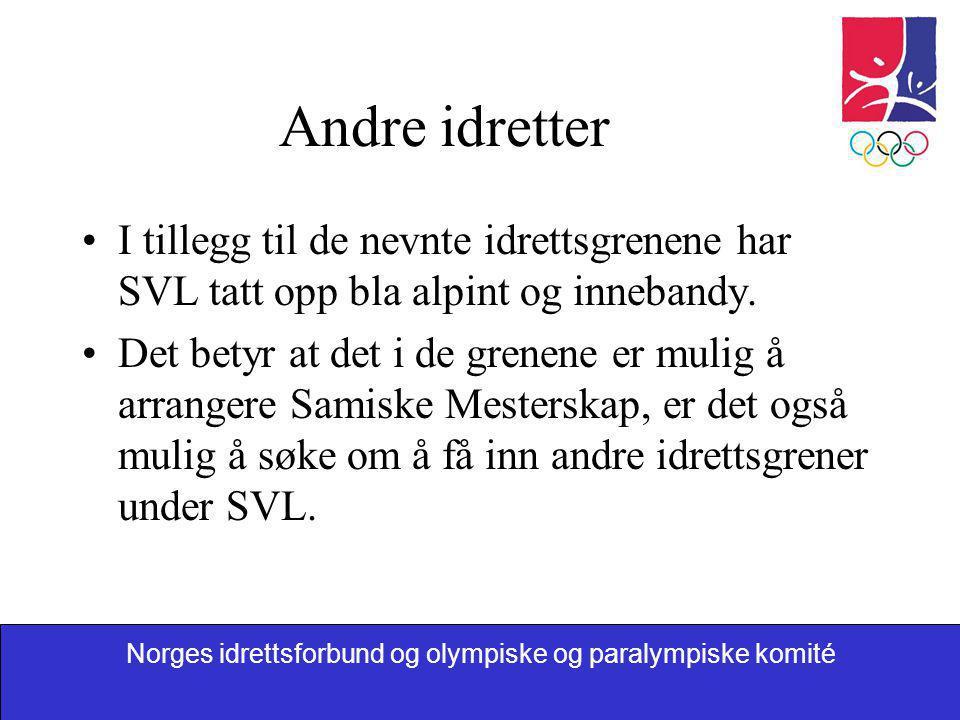 Norges idrettsforbund og olympiske og paralympiske komité Andre idretter •I tillegg til de nevnte idrettsgrenene har SVL tatt opp bla alpint og inneba