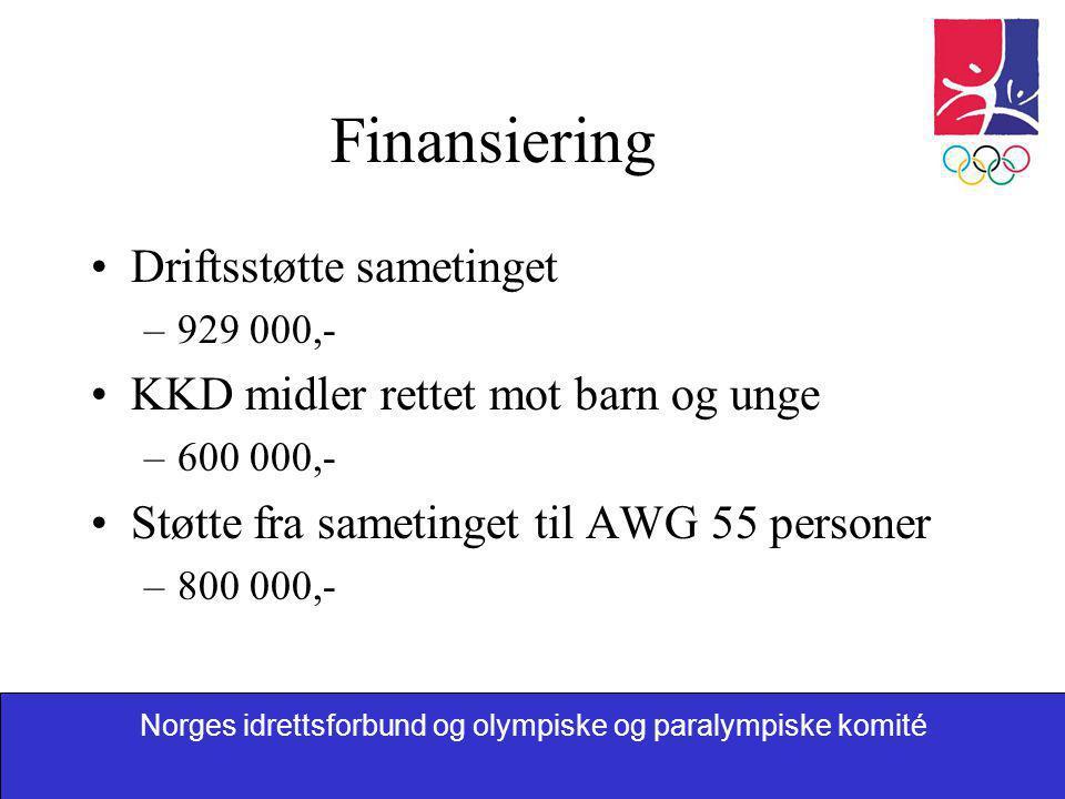Norges idrettsforbund og olympiske og paralympiske komité Finansiering •Driftsstøtte sametinget –929 000,- •KKD midler rettet mot barn og unge –600 00