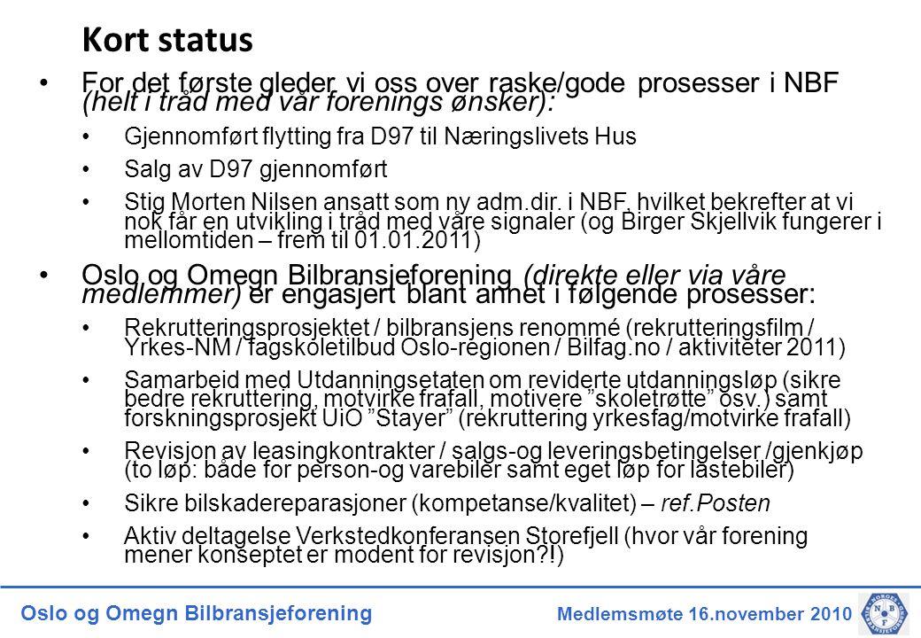 Oslo og Omegn Bilbransjeforening Medlemsmøte 16.november 2010 Kort status •For det første gleder vi oss over raske/gode prosesser i NBF (helt i tråd m
