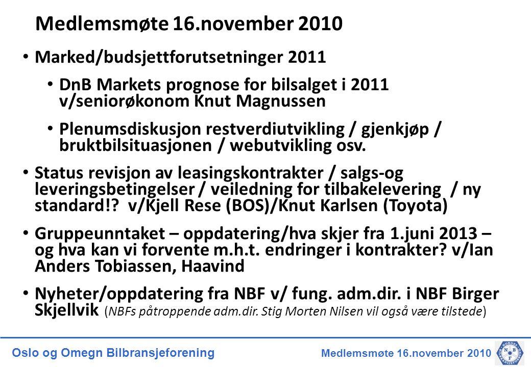 Oslo og Omegn Bilbransjeforening Medlemsmøte 16.november 2010 Medlemsmøte 16.november 2010 • Marked/budsjettforutsetninger 2011 • DnB Markets prognose