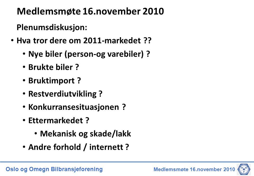 Oslo og Omegn Bilbransjeforening Medlemsmøte 16.november 2010 Medlemsmøte 16.november 2010 Plenumsdiskusjon: • Hva tror dere om 2011-markedet ?? • Nye
