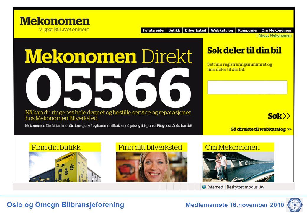 Oslo og Omegn Bilbransjeforening Medlemsmøte 16.november 2010