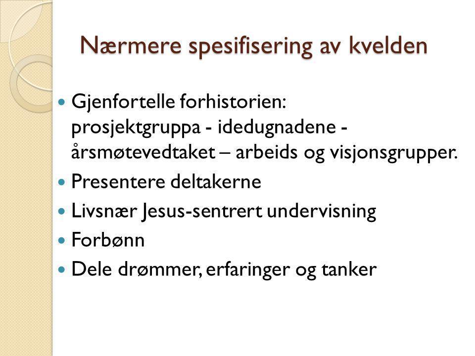 Nærmere spesifisering av kvelden  Gjenfortelle forhistorien: prosjektgruppa - idedugnadene - årsmøtevedtaket – arbeids og visjonsgrupper.