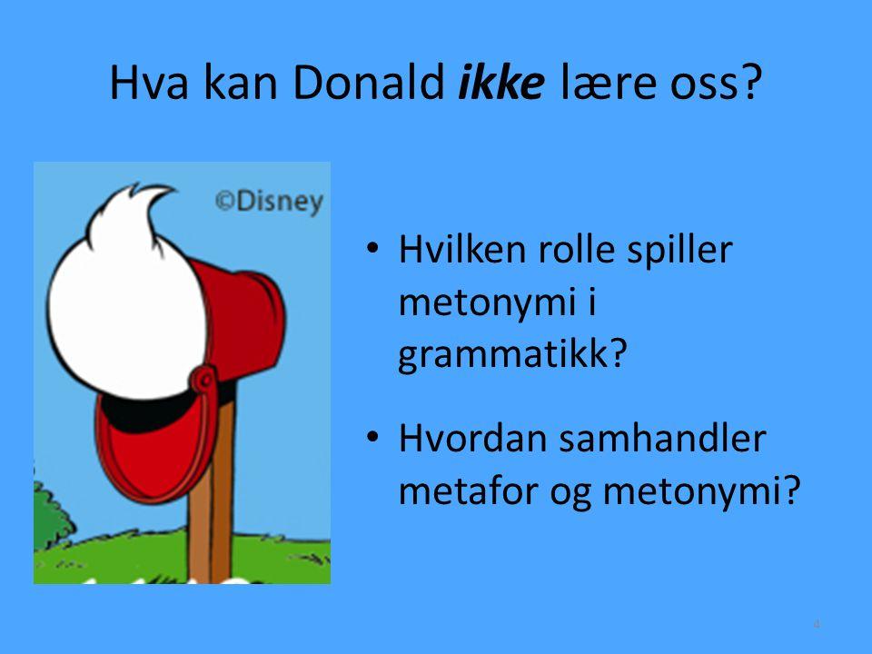 Hva kan Donald ikke lære oss? • Hvilken rolle spiller metonymi i grammatikk? • Hvordan samhandler metafor og metonymi? 4