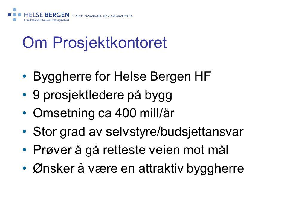 Om Prosjektkontoret •Byggherre for Helse Bergen HF •9 prosjektledere på bygg •Omsetning ca 400 mill/år •Stor grad av selvstyre/budsjettansvar •Prøver