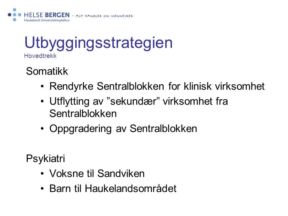 """Utbyggingsstrategien Hovedtrekk Somatikk •Rendyrke Sentralblokken for klinisk virksomhet •Utflytting av """"sekundær"""" virksomhet fra Sentralblokken •Oppg"""