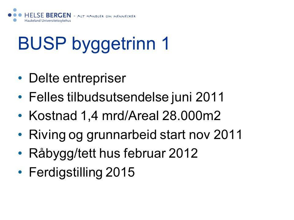 BUSP byggetrinn 1 •Delte entrepriser •Felles tilbudsutsendelse juni 2011 •Kostnad 1,4 mrd/Areal 28.000m2 •Riving og grunnarbeid start nov 2011 •Råbygg